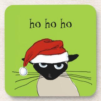 Siamese Santa Claws - Funny Christmas Kitty Cat Drink Coaster