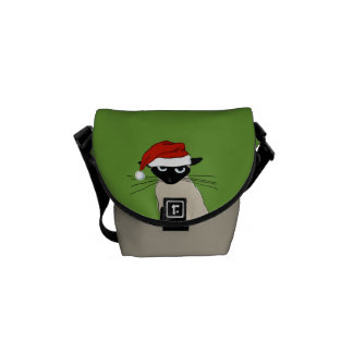 Siamese Santa Claws - Funny Holiday Kitty Cat Courier Bag