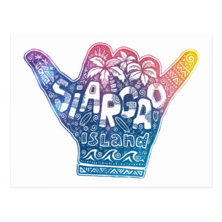 Siargao island surfing shaka hand postcard