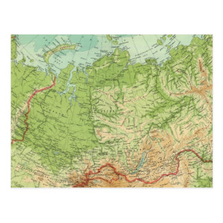 Siberia map with shipping routes postcard