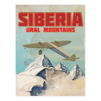 Siberia ural mountains vintage travel poster postcard