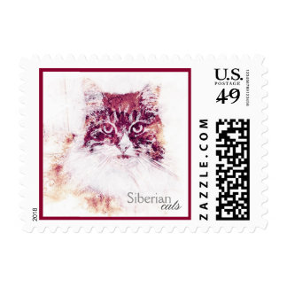 Siberian Cat Original Artwork Postage Stamp