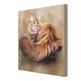 Siberian cat portrait art drawing oil canvas print