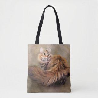 Siberian cat portrait art oil tote bag