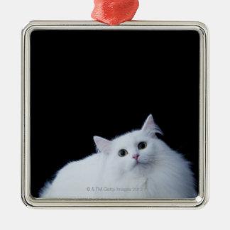 Siberian Cat Square Metal Christmas Ornament