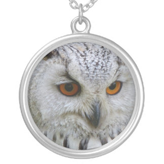 Siberian Eagle Owl Silver Plated Necklace