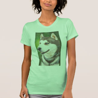 Siberian Huskey Dog Art Ladies T-Shirt