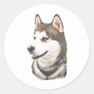 Siberian Huskey Dog Classic Round Sticker