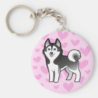 Siberian Husky / Alaskan Malamute Love Key Chain
