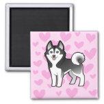 Siberian Husky / Alaskan Malamute Love 2 Inch Square Magnet