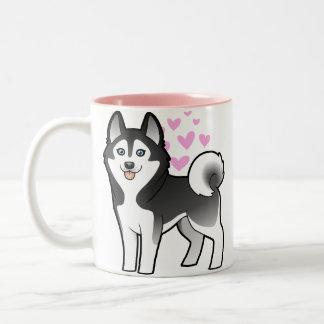 Siberian Husky / Alaskan Malamute Love Two-Tone Coffee Mug