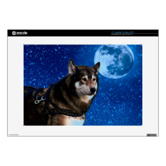 """Siberian husky and the Blue Moon Decals For 15"""" Laptops"""