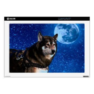 Siberian husky and the Blue Moon Laptop Skins