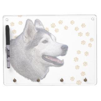 Siberian Husky Art Dry Erase Board With Keychain Holder