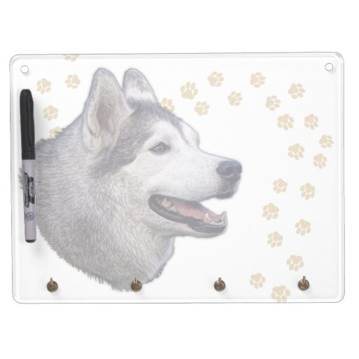 Siberian Husky Art Dry Erase Board With Keychain Holder