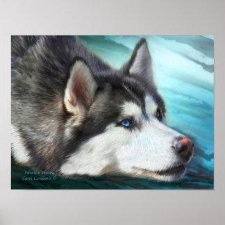 Siberian Husky Art Poster Print