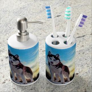 Siberian Husky Bath Set