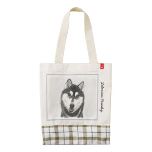 308484b355 Siberian Husky (Black and White) Painting Dog Art Zazzle HEART Tote Bag