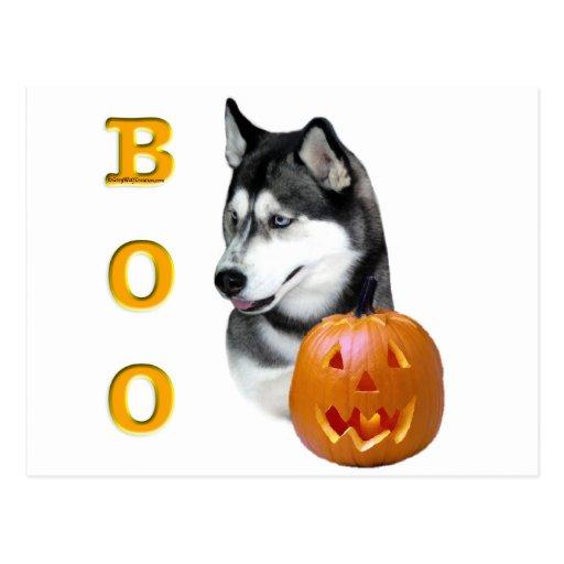 Siberian Husky (black) Boo Post Card