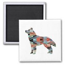 Siberian Husky Black Geometric Pattern Silhouette Magnet