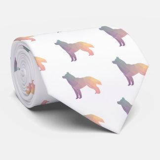 Siberian Husky Black Geometric Pattern Silhouette Neck Tie