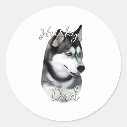 Siberian Husky (blk) Dad 2 Classic Round Sticker