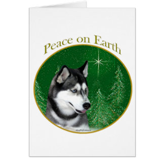 Siberian Husky (blk) Peace Greeting Card