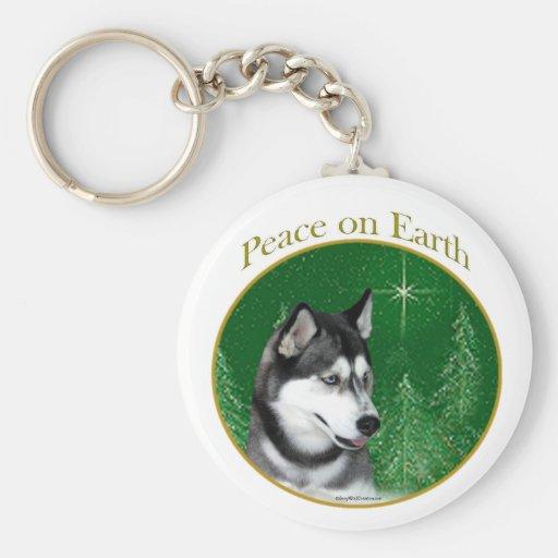 Siberian Husky (blk) Peace Key Chain