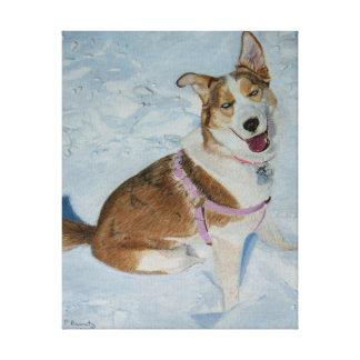 "Siberian Husky ""Blue"" Stretched Canvas Print"