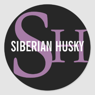 Siberian Husky Breed Monogram Design Classic Round Sticker