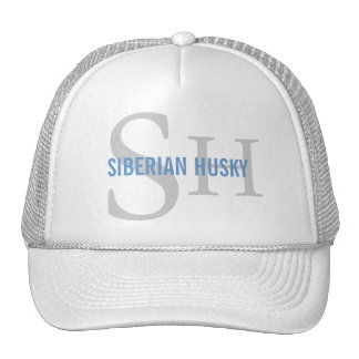 Siberian Husky Breed Monogram Design Trucker Hat