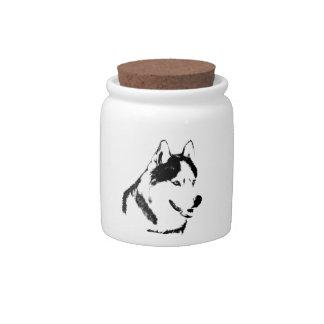 Siberian Husky Candy Jar Custom Sled Dog Jars