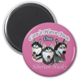 Siberian Husky Can't Have Just One 2 Inch Round Magnet