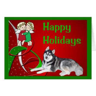 Siberian Husky Christmas Card Angels