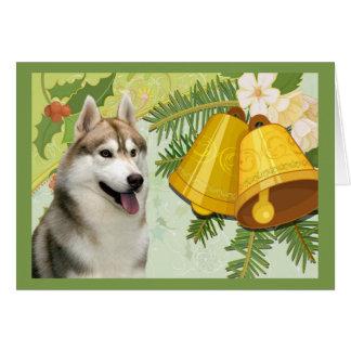 Siberian Husky Christmas Card Bells