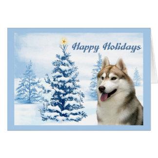Siberian Husky Christmas Card Blue Tree