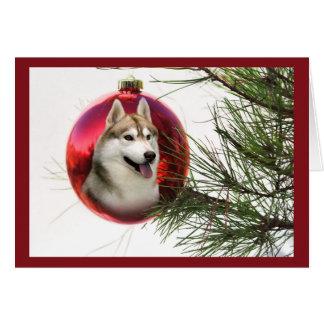 Siberian Husky Christmas Card Hanging Ball