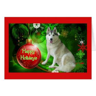 Siberian Husky Christmas Card Red Ball Green
