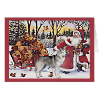 Siberian Husky Christmas Card Santa Bears