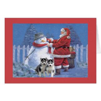 Siberian Husky Christmas Card Santa Snowman