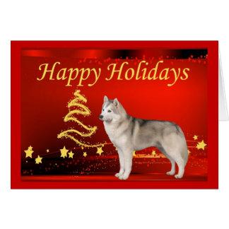 Siberian Husky Christmas Card Stars