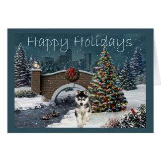 Siberian Husky Christmas Evening Greeting Card