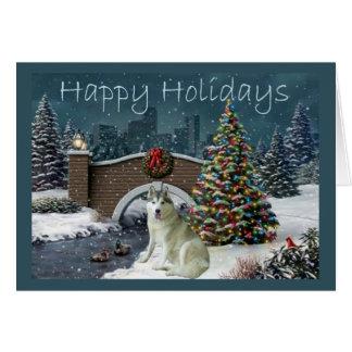 Siberian Husky Christmas Evening Greeting Cards