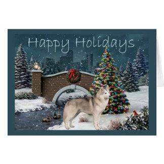 Siberian Husky Christmas Evening Cards