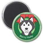 Siberian Husky Christmas Fridge Magnet
