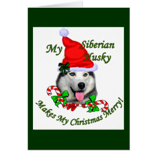 Siberian Husky Christmas Gifts Card