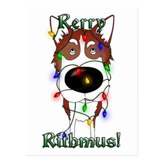 Siberian Husky - Christmas Lights Postcard