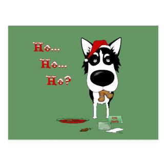 Siberian Husky Christmas Postcard