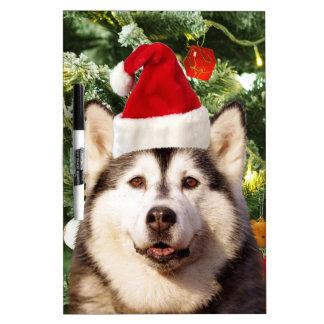 Siberian Husky Christmas Tree Ornaments Snowman Dry-Erase Board