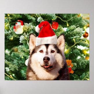 Siberian Husky Christmas Tree Ornaments Snowman Poster